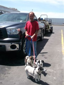Gary and some of the dogs on the way
